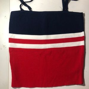 Ally Navy, Red and white striped crop